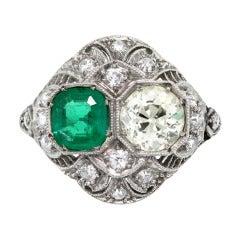 Emerald Old European Cut Diamond Platinum Ring