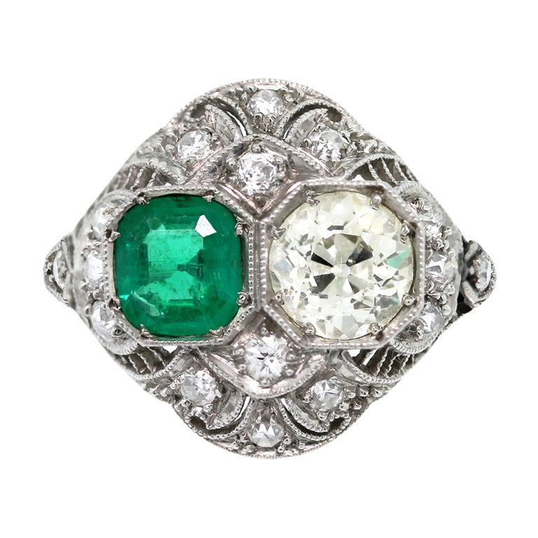 Emerald Old European Cut Diamond Platinum Ring