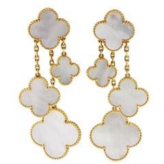 Van Cleef & Arpels Magic Alhambra 4 Motif Mother of Pearl Earclips