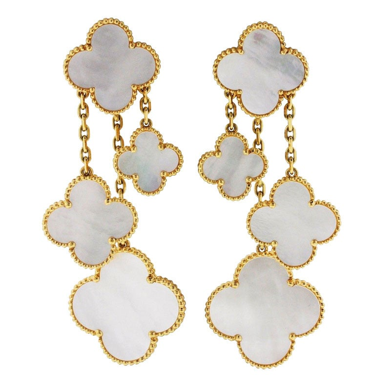 Van Cleef & Arpels Magic Alhambra 4 Motif Mother of Pearl Earclips 1