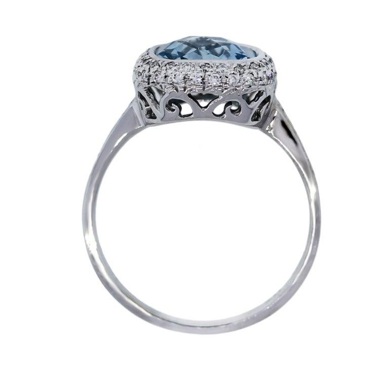 checkerboard cut aquamarine white gold halo ring