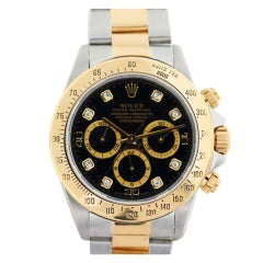 ROLEX Yellow Gold and Stainless Steel Daytona with Black Dial with Diamonds, Ref 16523