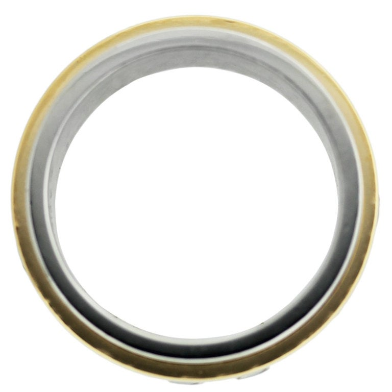 CARTIER Santos 100 Stainless Steel And Yellow Gold Mens Ring At 1stdibs