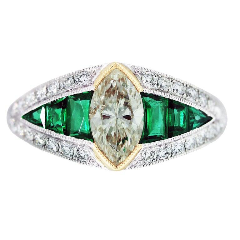 emerald platinum gold engagement ring at 1stdibs