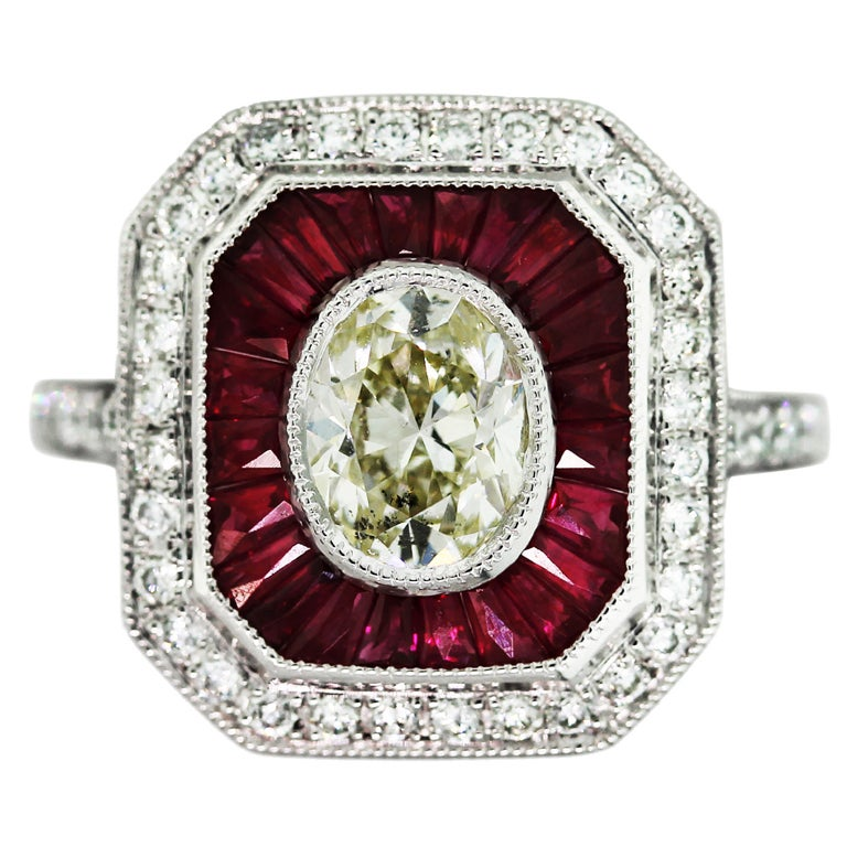 oval ruby and platinum engagement ring at 1stdibs