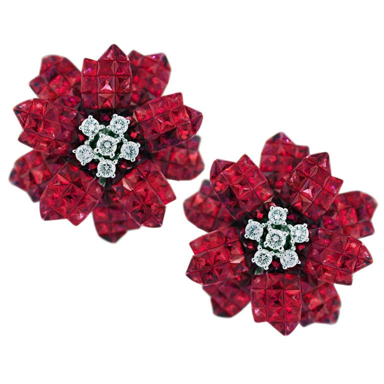 Invisible Set Ruby And Diamond Flower Earrings At 1stdibs