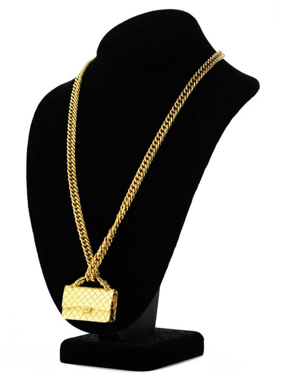 Gold Chanel Chain Necklace with Iconic Quilted Purse Pendant 3