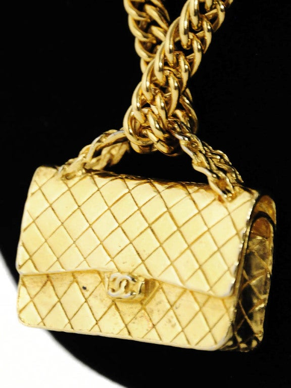Gold Chanel Chain Necklace with Iconic Quilted Purse Pendant 4