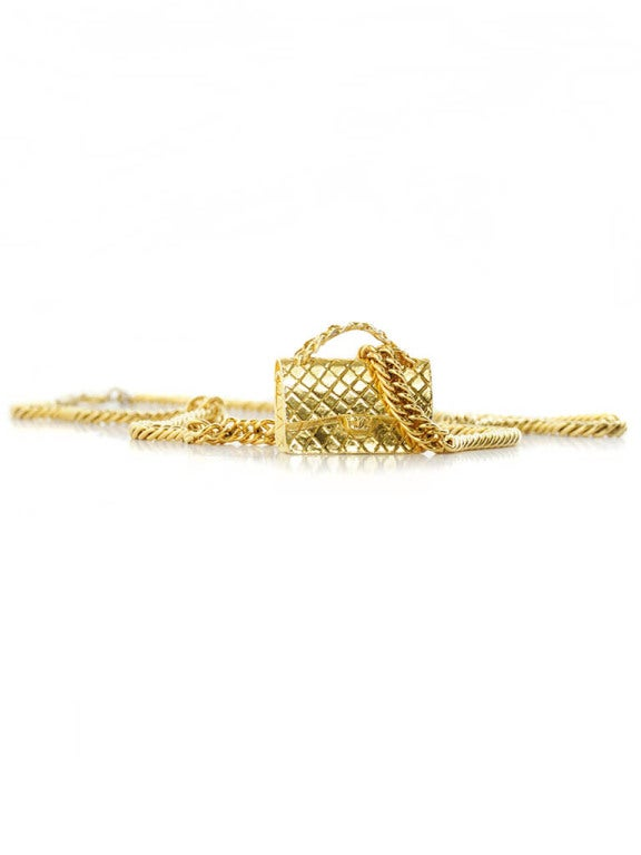 Gold Chanel Chain Necklace with Iconic Quilted Purse Pendant 5