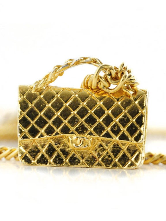 Gold Chanel Chain Necklace with Iconic Quilted Purse Pendant 6