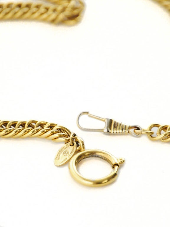 Gold Chanel Chain Necklace with Iconic Quilted Purse Pendant 7