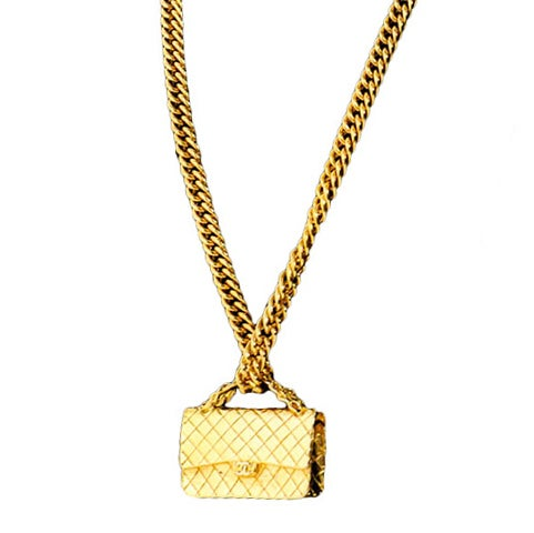 Gold Chanel Chain Necklace with Iconic Quilted Purse Pendant 1