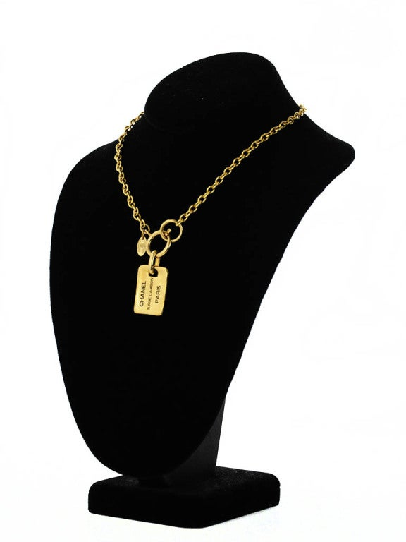 Gold Chanel Chain Necklace with Hanging Stamped Tag 3