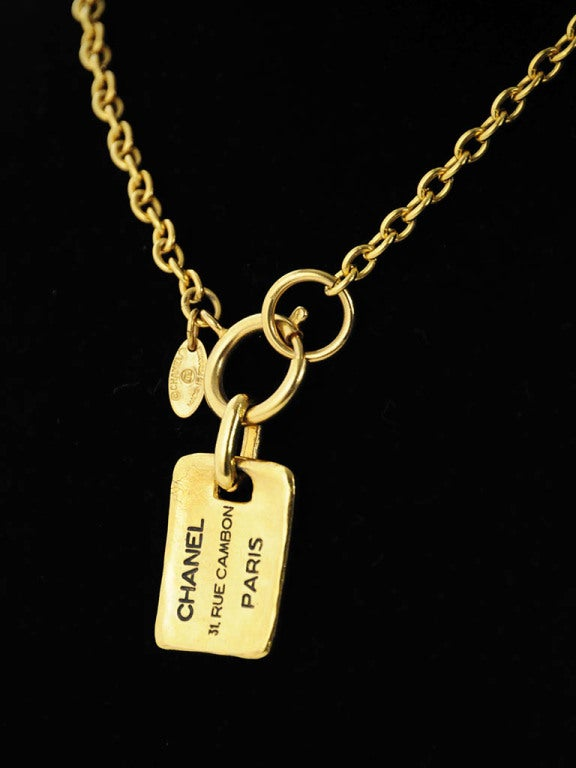 Gold Chanel Chain Necklace with Hanging Stamped Tag 2