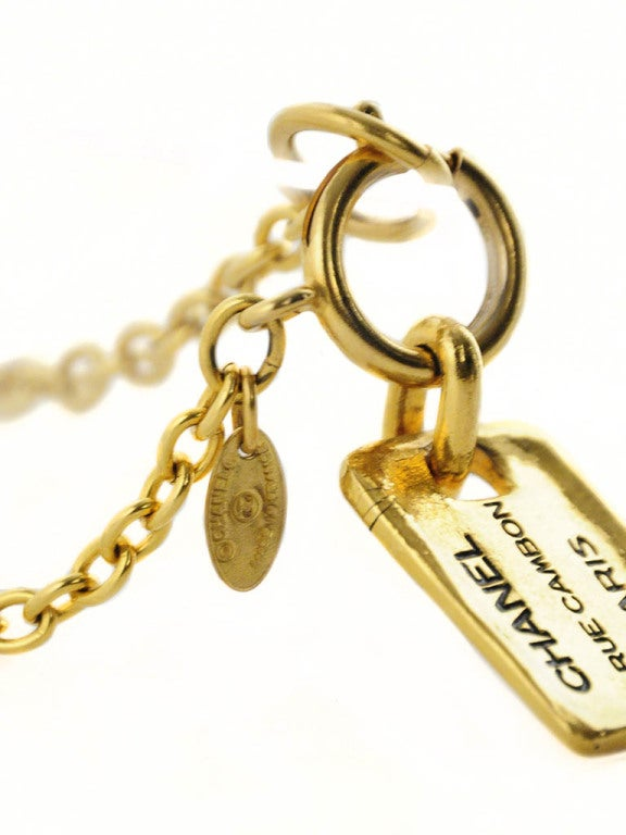 Gold Chanel Chain Necklace with Hanging Stamped Tag 4