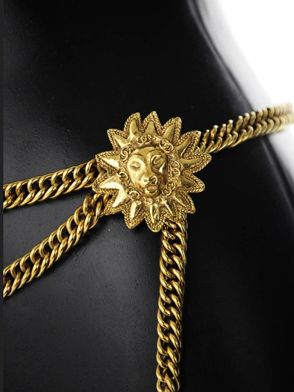 Vintage Chanel Gold Chain Belt with Lion Head Medallions For Sale 1