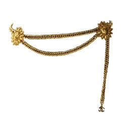 Vintage Chanel Gold Chain Belt with Lion Head Medallions