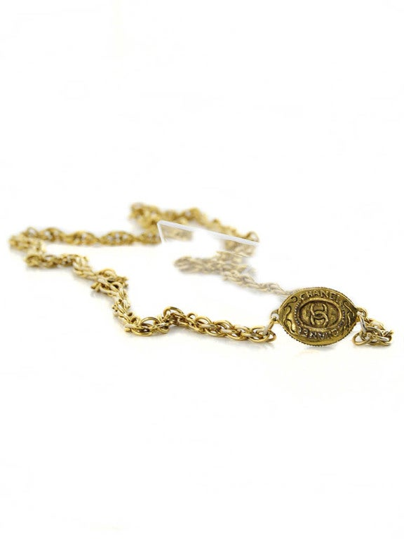 Women's Chanel Gold Tone Chain with Oval CC logo plaque For Sale