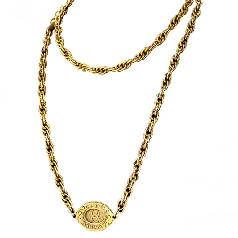 Chanel Gold Tone Chain with Oval CC logo plaque For Sale