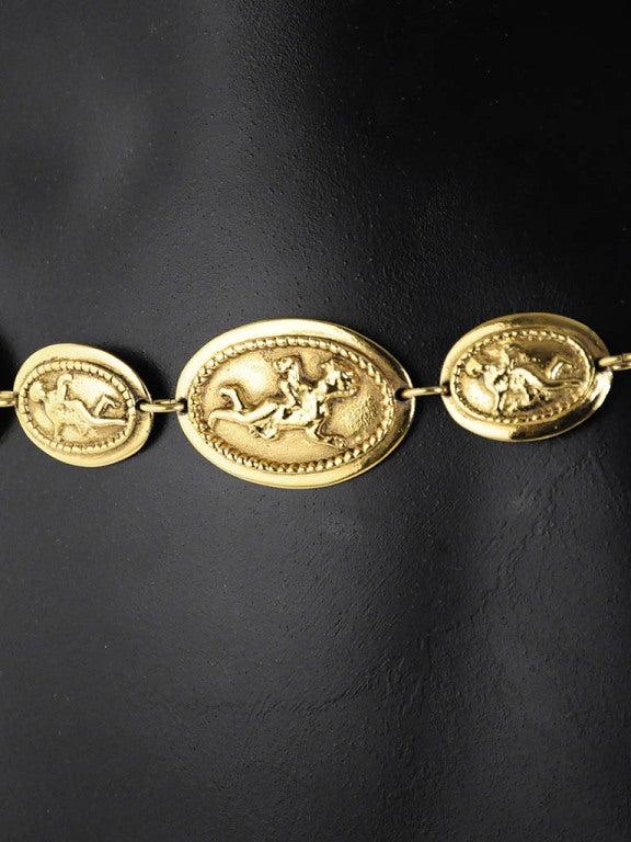 Women's Vintage Chanel Gold Belt with Angel Design For Sale