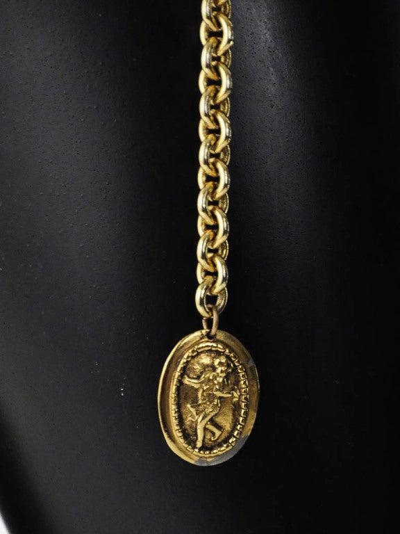 Vintage Chanel Gold Belt with Angel Design For Sale 1