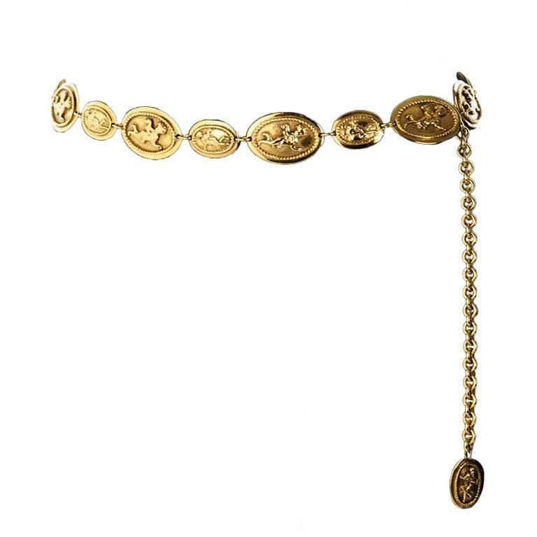 Vintage Chanel Gold Belt with Angel Design For Sale