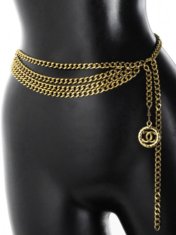 Vintage Chanel Gold Chain Belt with Chanel Logo Dangle image 2