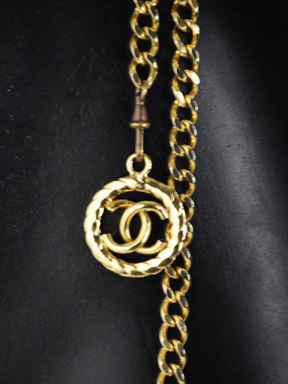 Vintage Chanel Gold Chain Belt with Chanel Logo Dangle image 4