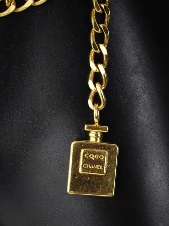 Vintage Chanel Gold Chain Belt with Perfume Bottle Dangle 4