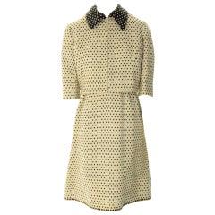 Oscar de La Renta Boutique-Black & Creme Dot Jacket & Dress Late 1950's RARE