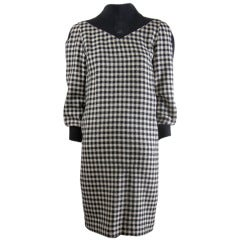 Vintage Courreges Black/Creme Houndstooth Wool Dress