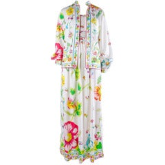 Maurice Signed In Print Long Maxi Dress & Jacket for B Altman New York