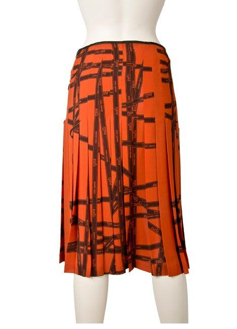 Hermes Pleated Kelly Skirt-Orange & Brown Ribbon Print Silk 2