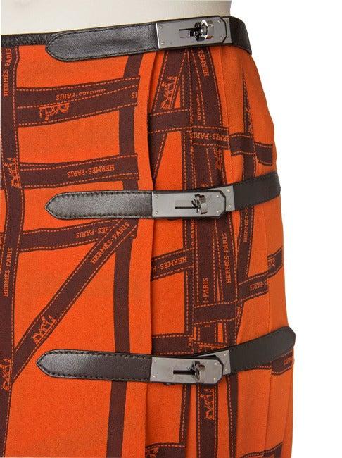Hermes Pleated Kelly Skirt-Orange & Brown Ribbon Print Silk 3