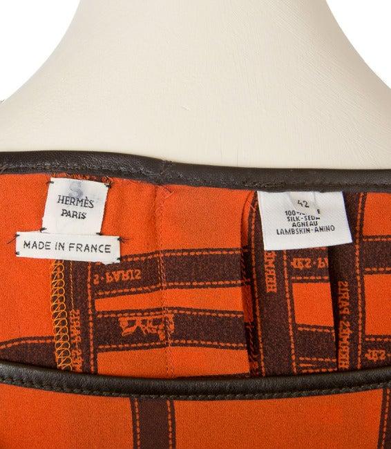 Hermes Pleated Kelly Skirt-Orange & Brown Ribbon Print Silk 4