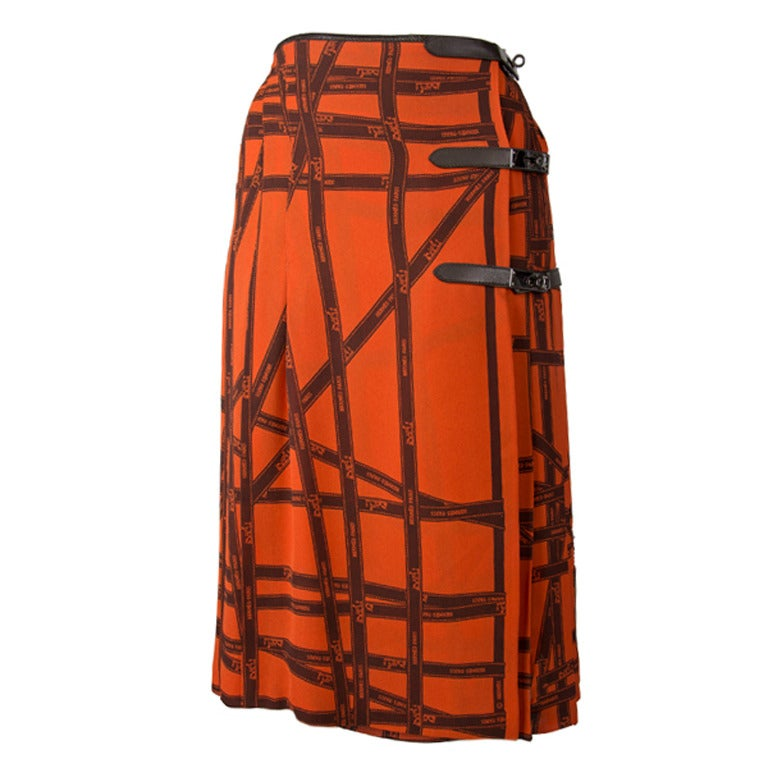 Hermes Pleated Kelly Skirt-Orange & Brown Ribbon Print Silk 1