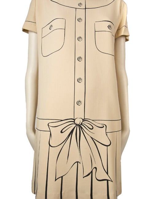 Moschino Couture Painted Dress-Tan w/Brown 2
