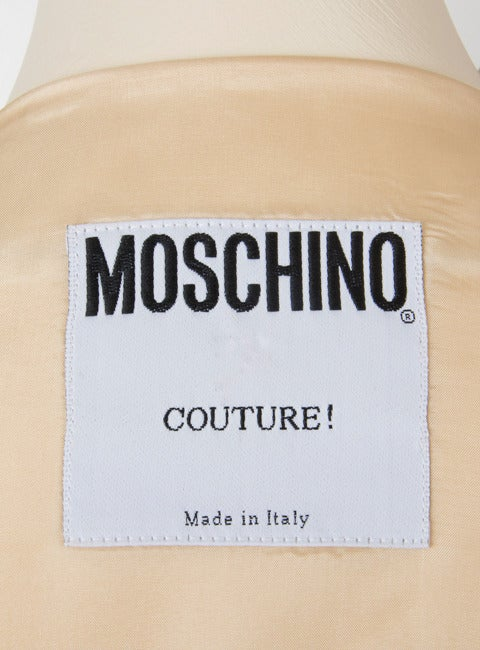 Moschino Couture Painted Dress-Tan w/Brown 3