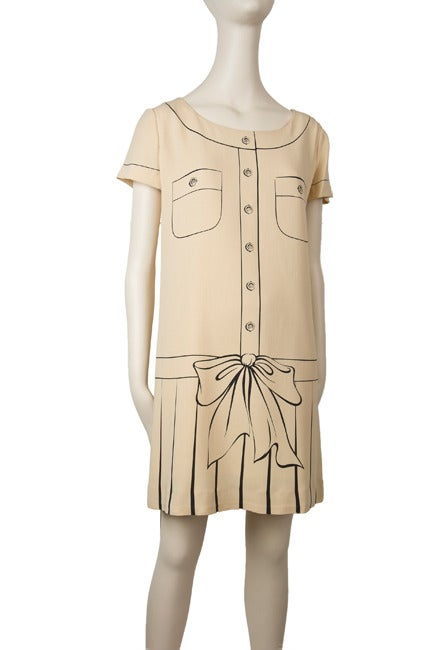 Moschino Couture Painted Dress-Tan w/Brown 4
