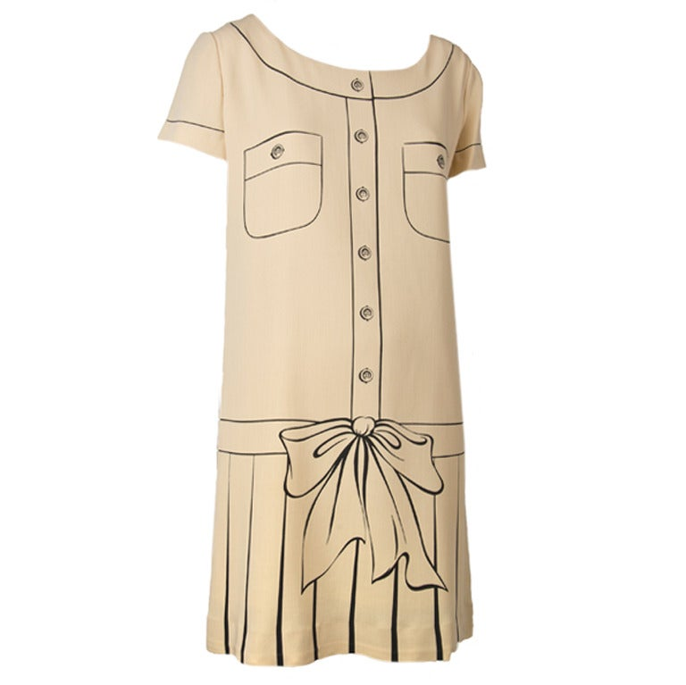 Moschino Couture Painted Dress-Tan w/Brown 1