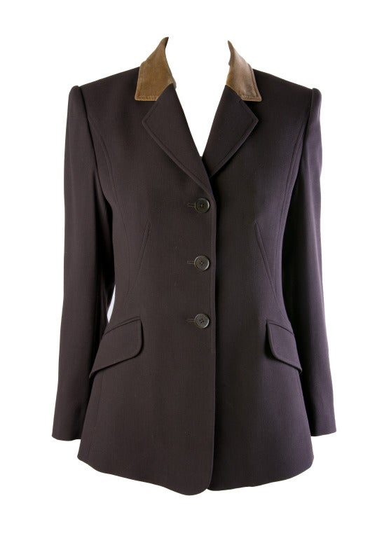 Hermes Vintage Dark Brown Wool Blazer with Velvet Collar Size 38 2