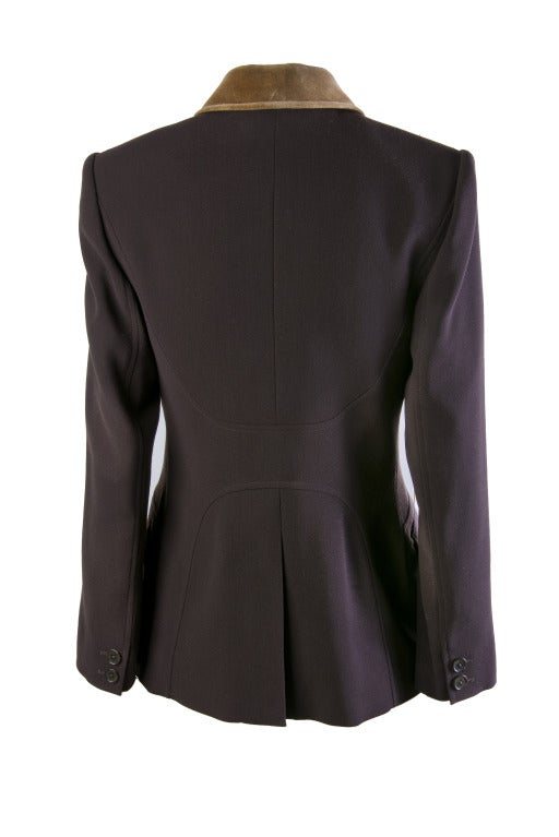 Hermes Vintage Dark Brown Wool Blazer with Velvet Collar Size 38 3