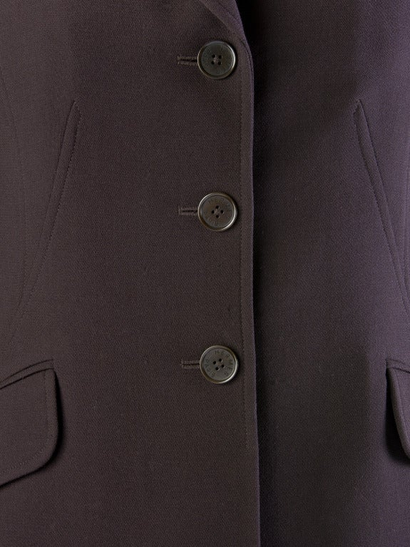 Hermes Vintage Dark Brown Wool Blazer with Velvet Collar Size 38 5