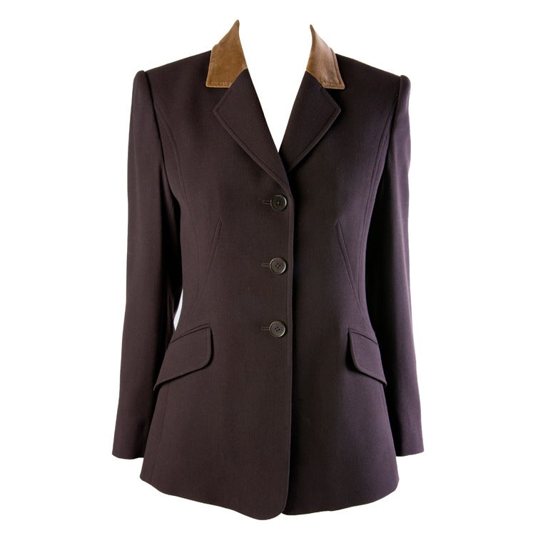 Hermes Vintage Dark Brown Wool Blazer with Velvet Collar Size 38 1