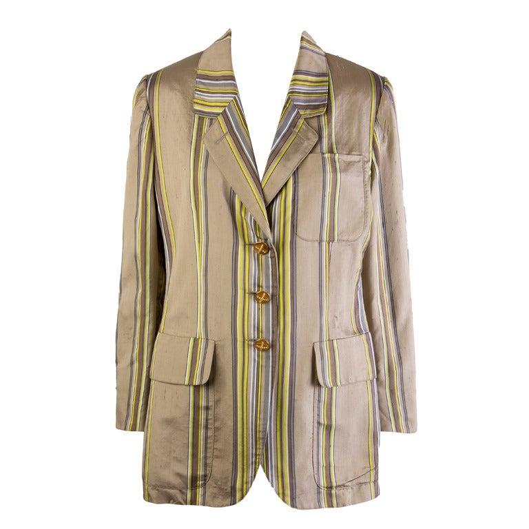Hermes Striped Silk Blazer