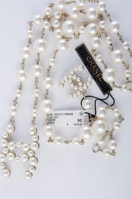 Chanel Fancy Belt  CC logo pearl 5