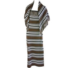 Vintage Pierre Balmain Long Striped Dress W/ Matching Scarf/Shawl
