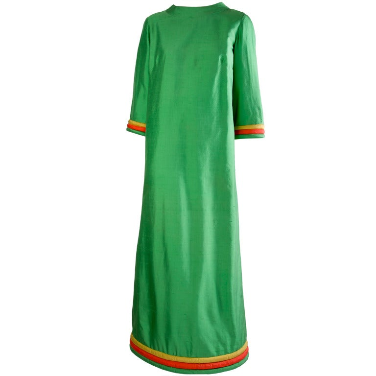 Lanvin Boutique Long Green Doupioni Silk Dress For Sale At 1stdibs