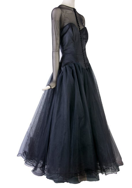 Vicky Tiel Couture Custom Made Black Evening Gown  3
