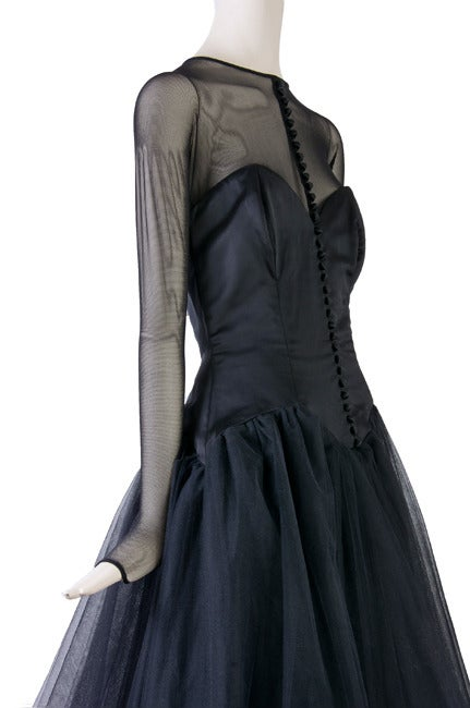 Vicky Tiel Couture Custom Made Black Evening Gown  6